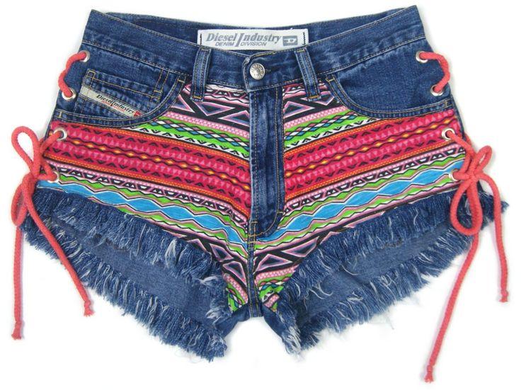 Lace up AZTEC denim shorts BOHO vintage Diesel jeans regular cut off jeans festivalstyle rock S size 28 waist by DSMjeans on Etsy