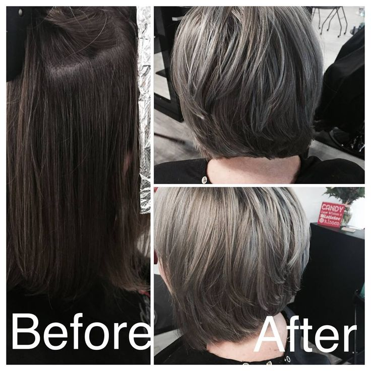 transition from long hair to a cute stylish bob with PRAVANA silver lowlights