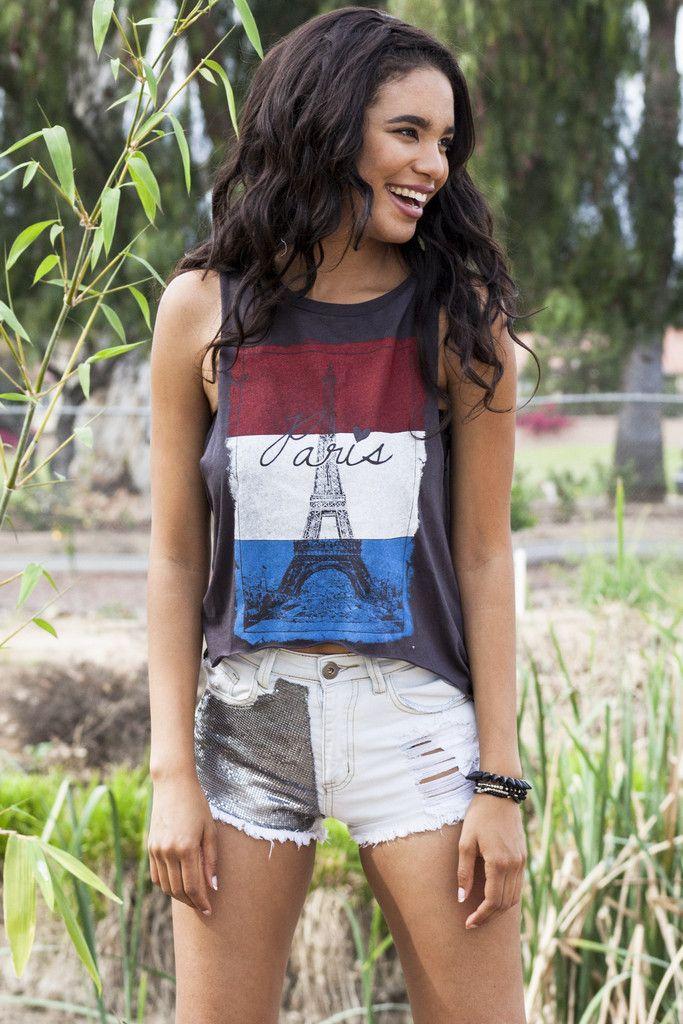PARIS MUSCLE TANK TOP - DARK GRAY  Paris Flag Muscle Tank  #mwc15 #monday #stpatricksday #leonardnimoy #masss #kuttythala #responsivewebdesign #qualcomm #sonamkapoor #britishpieweek #obsezz #paris #graphictank #graphictee #tops #croptop #denim #shorts #clothes #ootd #fashionblogger