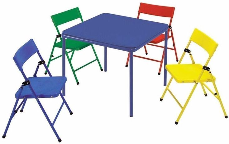 24 in. x 24 in. Kid's Folding Chair and Table 5-Piece Set in Multiple Colors #furniture