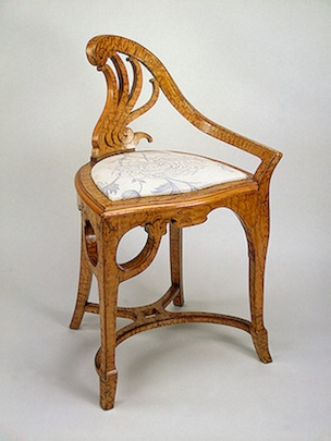Armchair with One Arm and Fancy-Fashioned Carved Back , Circa 1900 Russia: