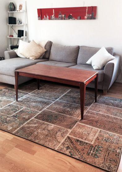 Beige vintage patchworkmatta. Matta, patch, patchwork, iran, persisk, möbler, inredning, vardagsrum, sovrum, brun. http://sweef.se/11-mattor#/typ_av_matta-patchwork