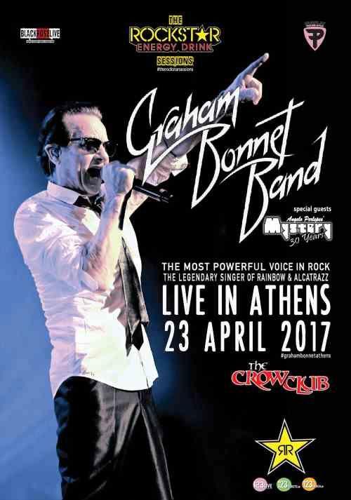 GRAHAM BONNET BAND: Οι τελευταίες λεπτομέρειες για το live στις 23 Απριλίου στο The Crow Club με Angelo Perlepes' MYSTERY