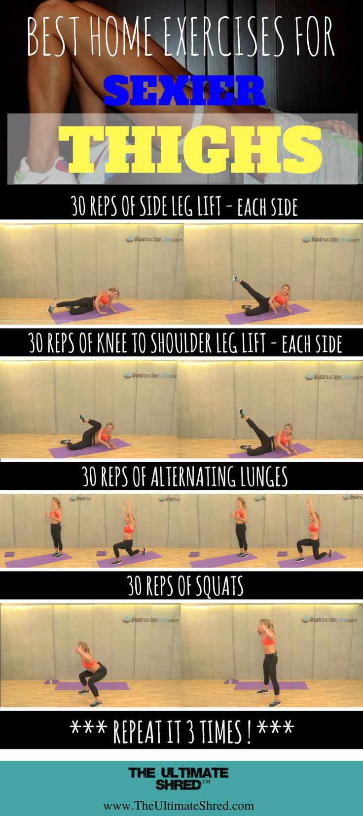 Make your way up to the sexier thighs by follow these simple yet effictive exercises!  Get more free workout here with us!