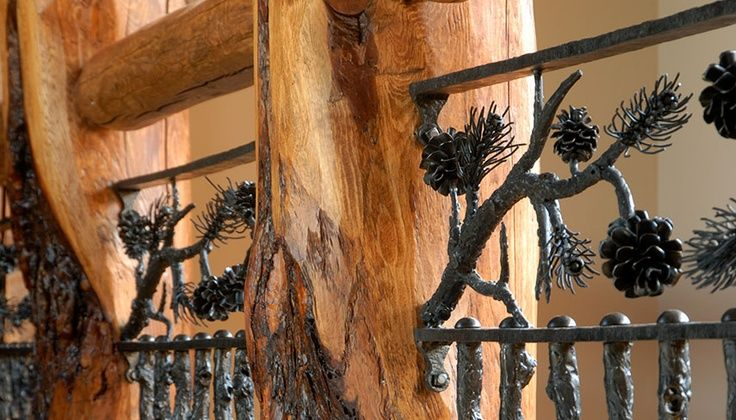Best Log Post Top Rail With Metal Vertical Branches Pine Cones 640 x 480