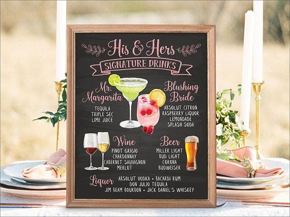 The 25 best wedding bar menu ideas on pinterest wedding drink digital printable wedding bar menu sign signature drinks junglespirit