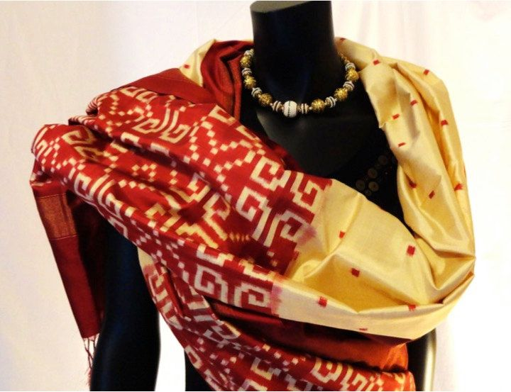 Red and beige pure silk Shawl.  Contemporary Silk stole. Handwoven, silk stole…