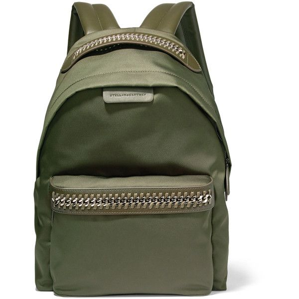 Stella McCartney The Falabella faux leather-trimmed shell backpack ($840) ❤ liked on Polyvore featuring bags, backpacks, army green, army green backpack, rucksack bags, olive backpack, zip bag and day pack backpack