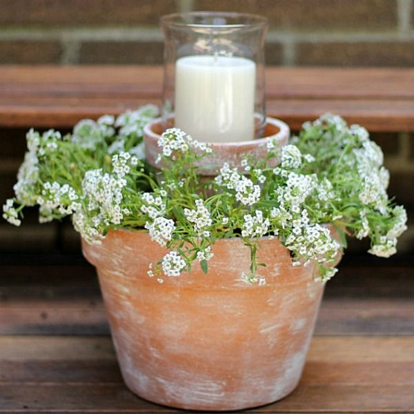 Create a warm and soft ambiance with this Flower Pot Centerpiece. More Backyard Ideas on Frugal Coupon Living.