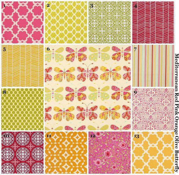 Custom Baby Bedding Crib Set (Red Orange Green Pink) (Butterfly Lattice Mediterranean Medallion) (Bumpers Toddler Quilt Sheet Pillowcase)