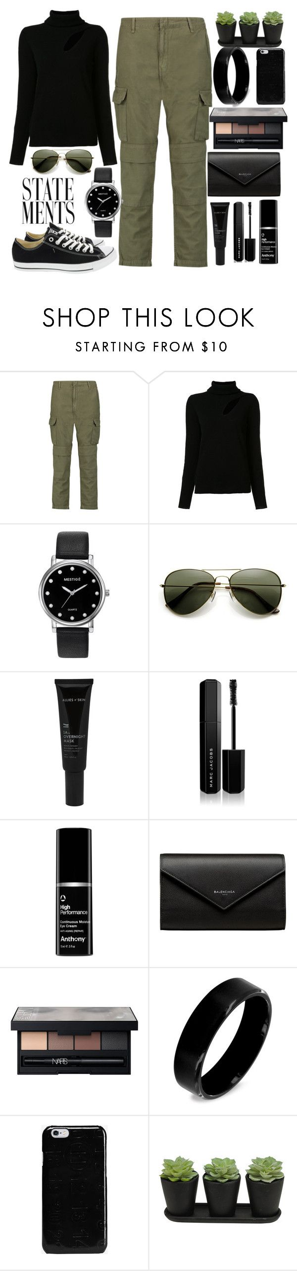 """""""Casuality"""" by creativejenerator ❤ liked on Polyvore featuring rag & bone, A.L.C., Mestige, Allies of Skin, Marc Jacobs, Balenciaga, NARS Cosmetics, West Coast Jewelry, Maison Margiela and Converse"""