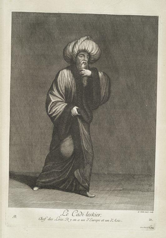 van mour-Le cadi-leskier, chef des loix. Il y en a un d'Europe et un d'Asie (1714)Jean-Baptiste van Mour'un (1671 – 1737) altında basılan Osmanlı gravürleri. Kadi