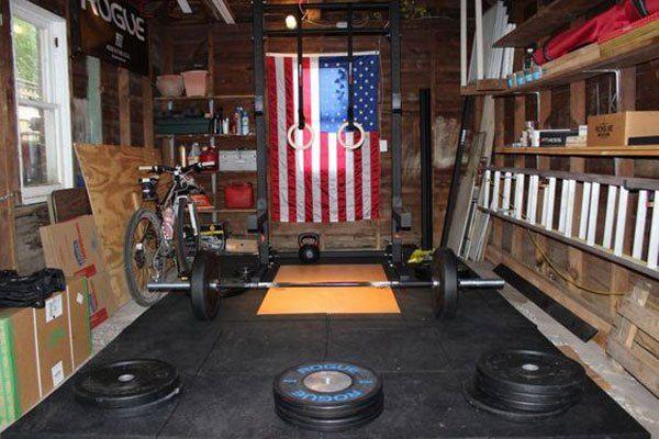 All american single car garage gym for olympic