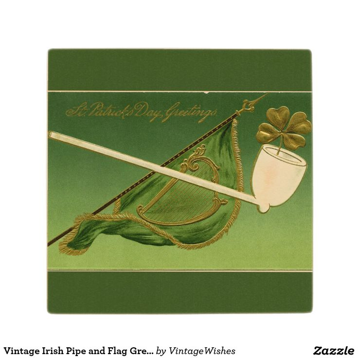 Vintage Irish Pipe and Flag Green Wood Coaster - #vintagewishes #windywinters #zazzle