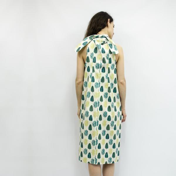 Dress Carioca in Green Leaves Cotton Poplin – Akira Mushi