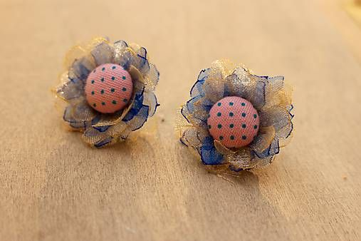 Martinuska / Modro ružové kvietky/organza earrings