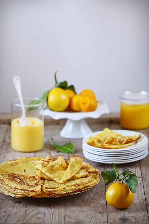 """Crêpes à la bergamote (la vraie) et lemon curd au citron beldi ~ Pancakes with bergamot (the real), and the """"beldi"""" lemon curd"""