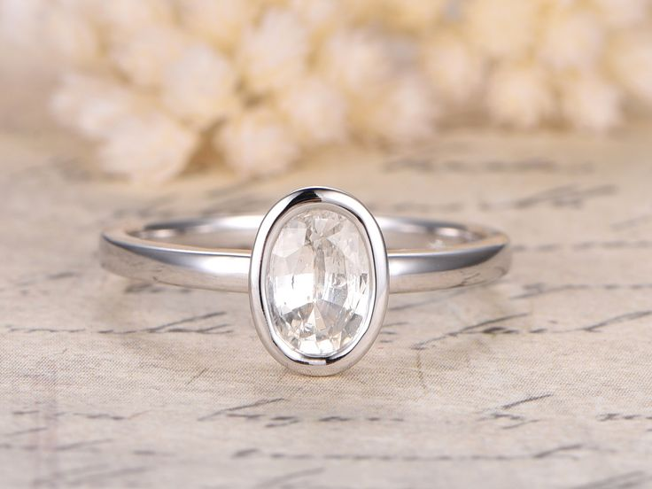 White Sapphire Ring,5x7mm Oval Cut Stone,14K Plain White Gold,Sapphire Bezel Ring,Bezel Set Ring,Sapphire Engagement Ring
