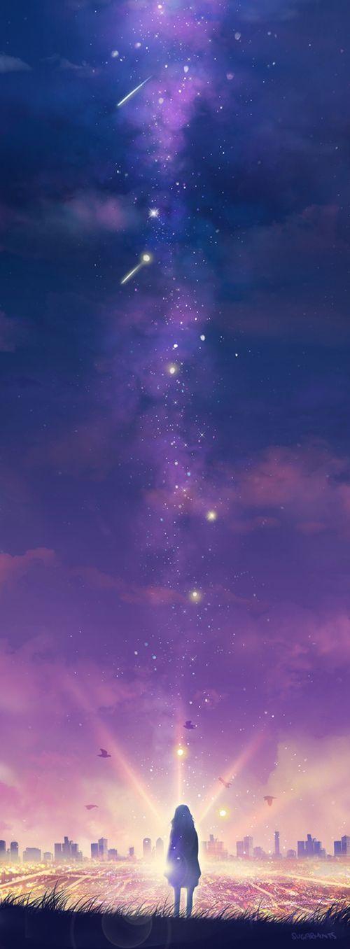 Anime Art par Gabriela Romano ~Por muy larga que sea la tormenta, el sol siempre vuelve a brillar entre las nubes.~