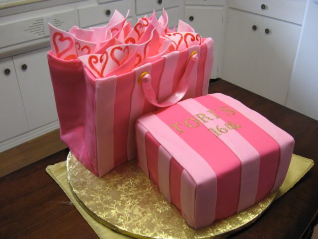 Victoria's secret shopping bag and box - A 16th birthday cake for my niece. All fondant.victorias secret bag and package. by cindyjz