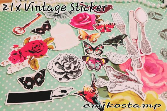 Vintage ephemera Sticker planners Stickers Card Paper DIY Scrapbook Decoupage