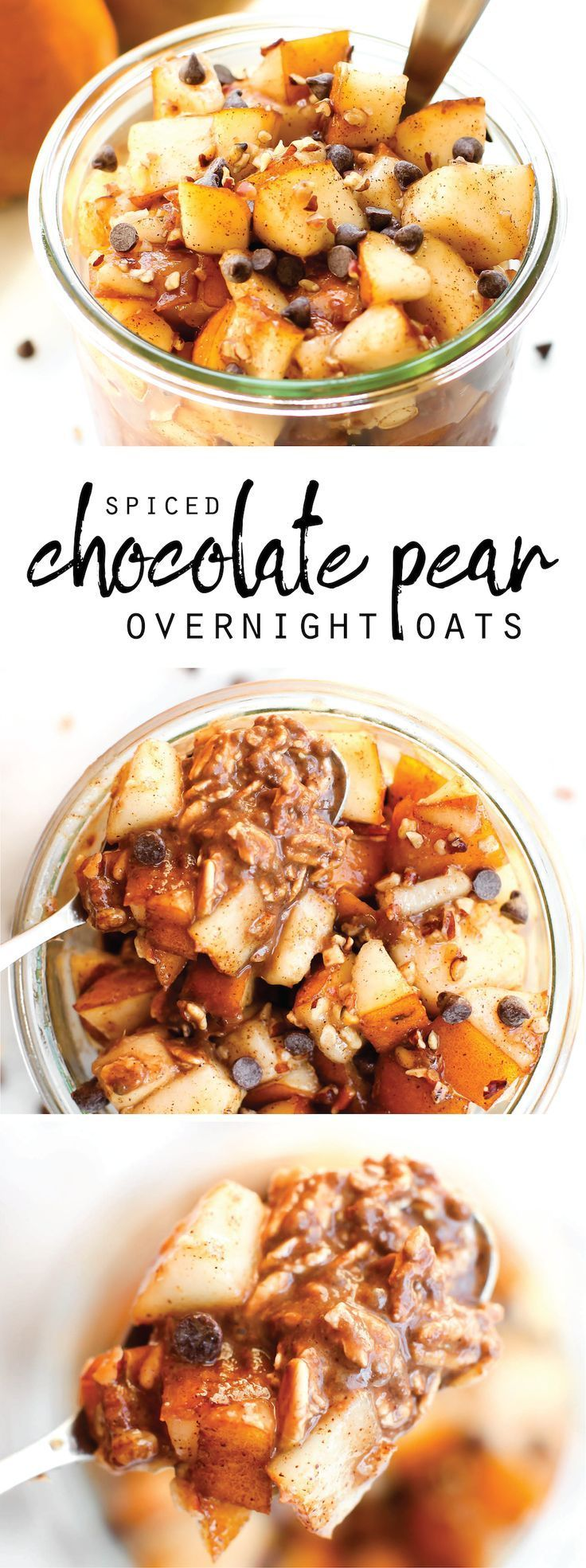 Spiced and fruity with a tastes-like-brownie-batter base--this Spiced Chocolate Pear Overnight Oats recipe is easy breakfast in a jar!