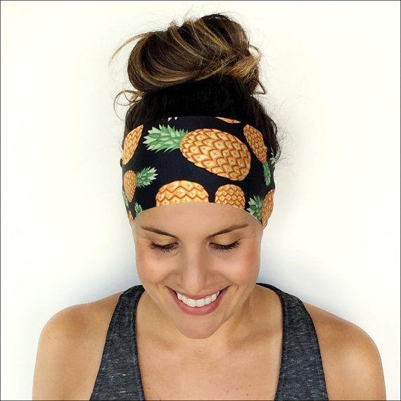 Yoga hoofdband - training hoofdband - Fitness hoofdband - met hoofdband - gouden ananas Print - Boho Wide hoofdband