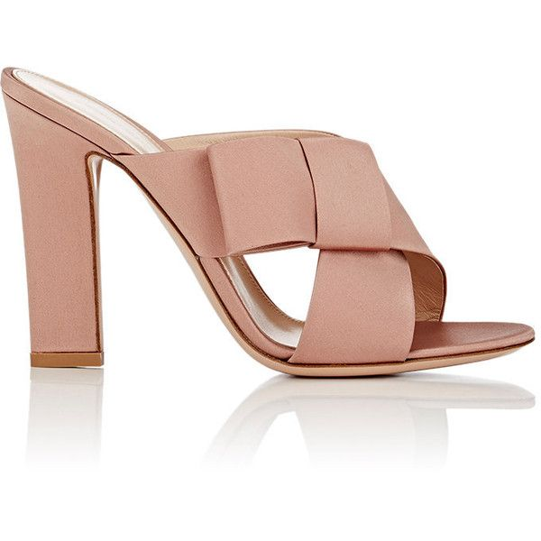 Gianvito Rossi Women's Obi Bow-Detailed Satin Mules ($675) ❤ liked on Polyvore featuring shoes, heels, pink, monk-strap shoes, pink shoes, open-toe mules, satin shoes and open toe mules