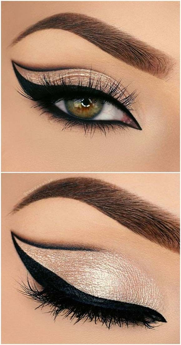 diy tips makeup 2017 2018 bold grapic cat eye outline half cut crease in black gold glitter - Cat Eyes Makeup For Halloween