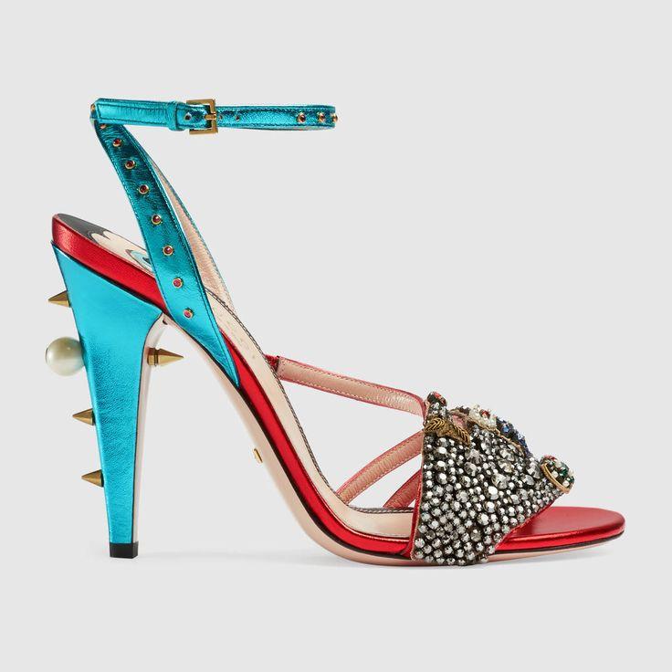 Sandalo in pelle metallizzata