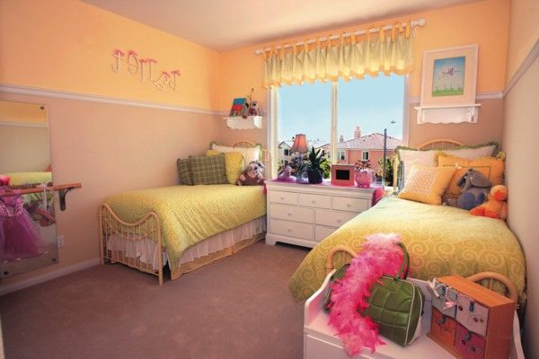 Nursery idea flower decoration pink yellow beds