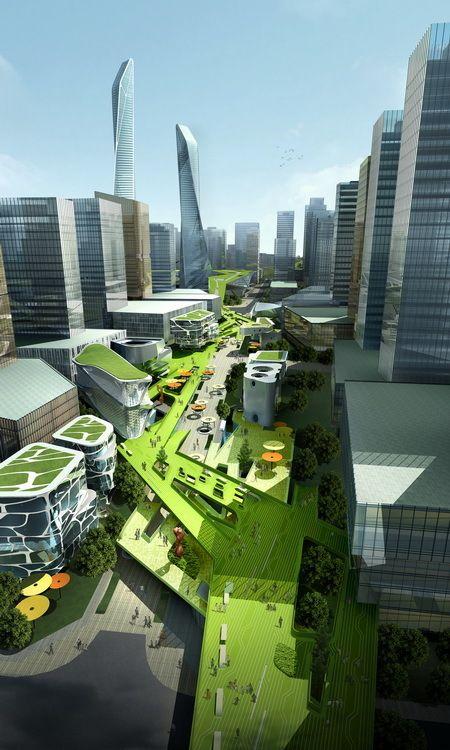 Southern Island of Creativity / Chengdu Urban Design Research Center,the sky street 05