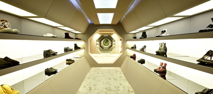 The new and improved LN-CC store in London, looking worthy of the fact that an appointment is needed to visit the store. With a shoe section like this, who wouldn't want to pay a visit?