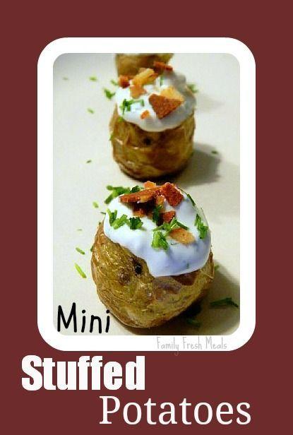 Fun finger food mini stuffed potatoes. Bacon-less, cause that stuff is gross!