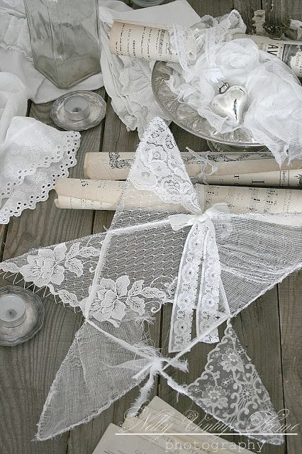 Lace stars or net stars from fabric and wire for ceiling decorations or tree…