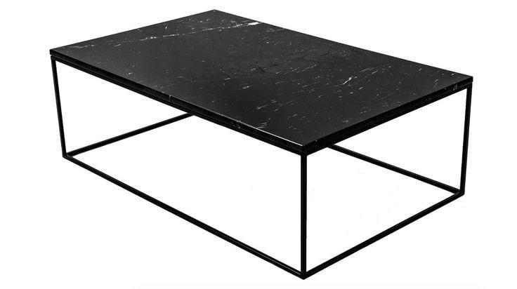 Svart, längre marmorbord med svart stålram. Soffbord, hallbord ...