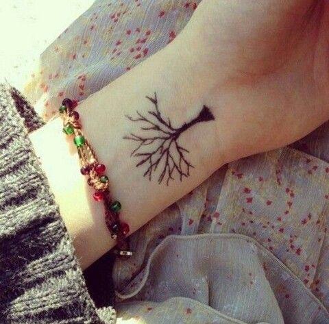 Pretty tree tattoo on the wrist.