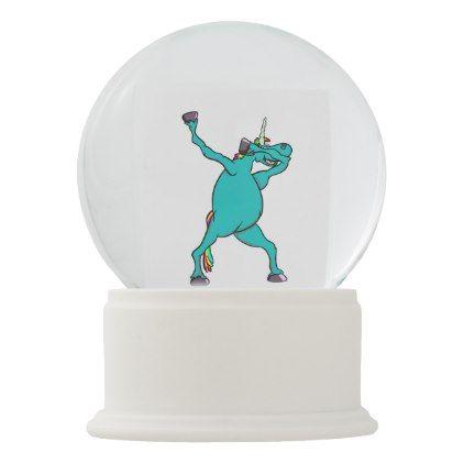 Funny Unicorn Dabbing Dance Snow Globe - horse animal horses riding freedom