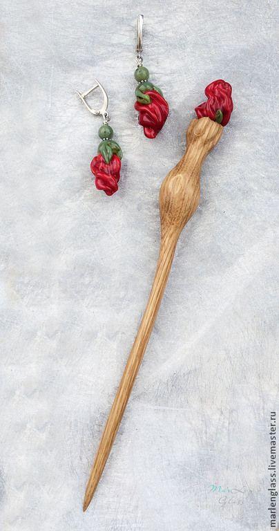 Комплект Классическая миниатюра (серьги серебро 925+палочка для волос) - авторское стекло, ручная работа дерево. Handmade hair stick and earrings (set), glass and wood, MArLen Glass