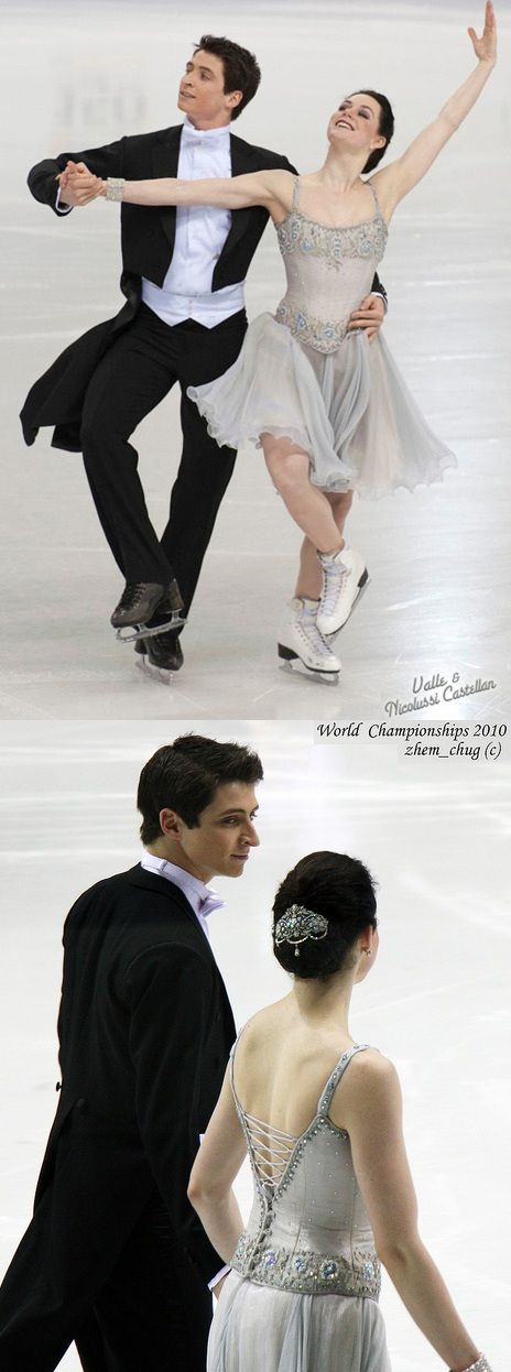 Tessa Virtue and Scott Moir's beautiful Golden Waltz costumes at the 2010 World Championships. )))