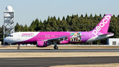 Peach Aviation (JP) Airbus A320-214 JA815P aircraft, with the sticker ''KETSUNOPOLIS 10'' on the airframe, skating at Japan Tokyo Narita International Airport. 17/12/2016. (KETSUNOPOLIS=a 4 member Japanese pop & hip hop group. 10=the number of their disc circulated 26/10/2016).