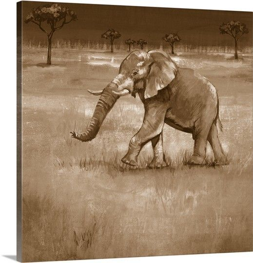 Highlight a majestic african elephant with on the plains iii canvas print in