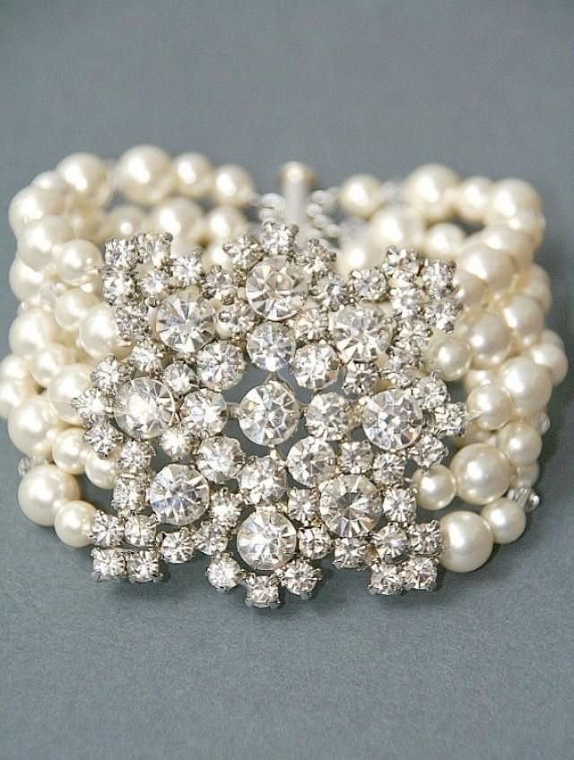 Until Sept 5) Bridal Bracelet. Vintage Style Bridal Crystal Pearl Wedding Cuff Brooch Bracelet, Wedding Jewelry , Pearl Vintage Br