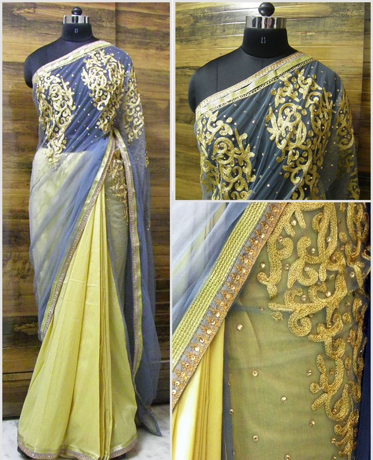 G-REY Lovely combination of Grey and Gold. Beautiful Grey net fabric with intricate Zari - Aari embroidery motif, scattered with diamond stone allover. The pallu also has 1/2inch gold lace with grey diamond and thread work embroidery lace.  Pleats are of silk cotton fabric making perfect pleats and 1/2inch gold lace with grey diamond and thread work    Blouse - Grey Raw silk blouse  For booking your saree please Email us with Saree name to sales@aaenadesign.com or call/Wassup  +91 9167625956