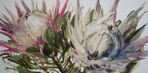 Two-king-proteas by Nicola Firth Oil ~ 600mm x 1200mm