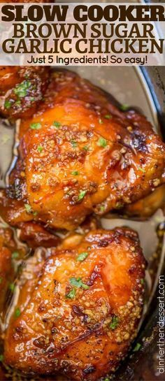 Slow Cooker Brown Sugar Garlic Chicken made with just five ingredients, you can set it in minutes and have the perfect weeknight meal!