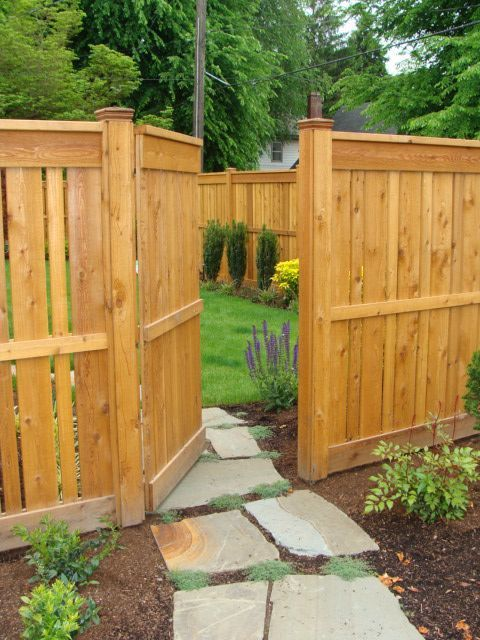 Cedar Fence and Gate by Landscape East & West, Clackamas, Oregon