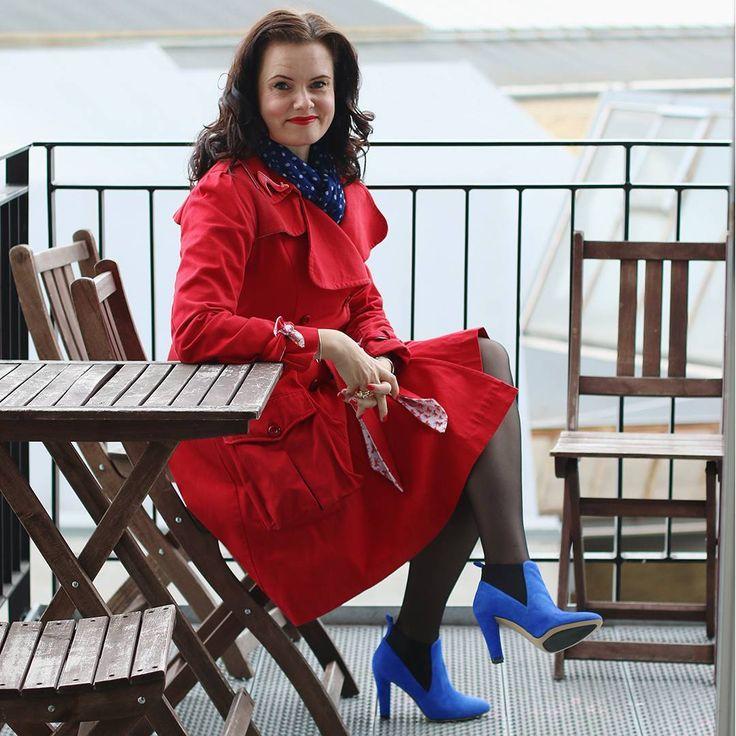 Leonora christina skov in roccamore's Electric Ann boot and red coat.