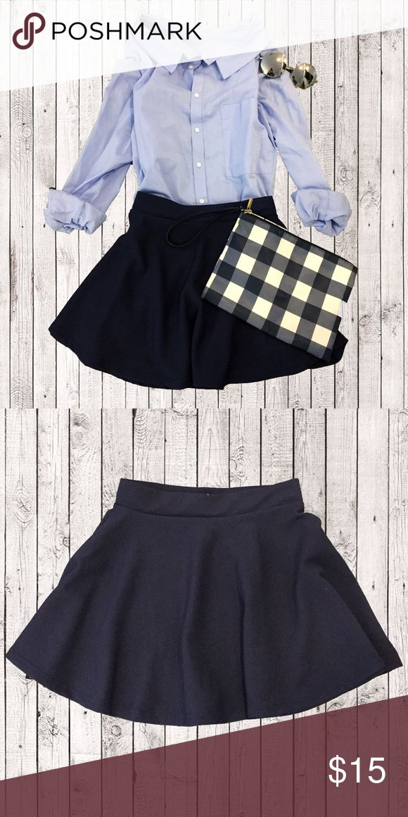 Navy Mini Skirt 98%NEW Navy Mini Skirt ✨ sell it in low price💥excellent condition   ❣️Trying to get extra money for college 🏫 every sale is a support. 👧🏻  ❗️sunglasses and Clutch are also for sale, go to my closet to see more❤️ Skirts Mini