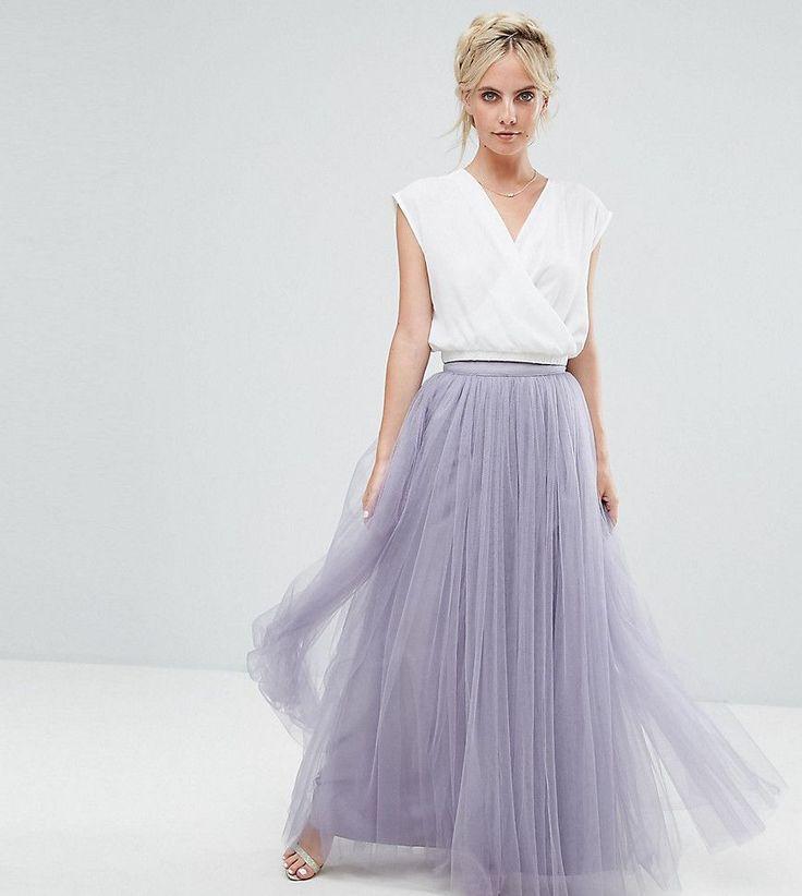 Little Mistress Petite Maxi Tulle Skirt - Purple